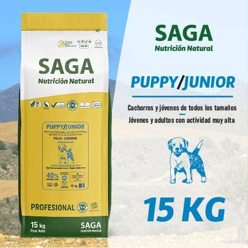 Saco de pienso para perros cachorro y jóven de SAGA