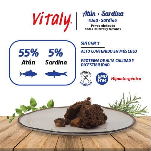 Ingredientes de la comida húmeda para perros de atún y sardina de Vitaly