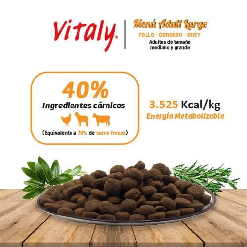 Ingredientes del pienso para perros adultos de tamaño grande de Vitaly