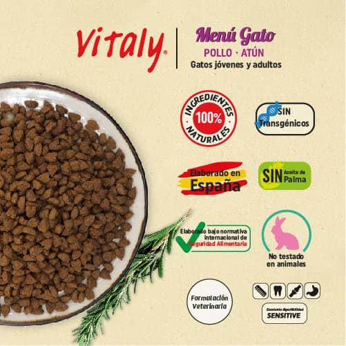 Características del pienso para gatos de Vitaly
