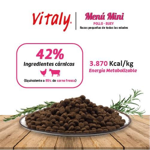 Ingredientes del pienso para perros de tamaño pequeño de Vitaly