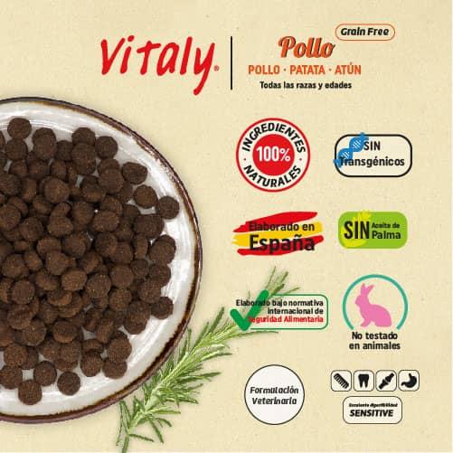 Ingredientes del pienso para perros grain free de Vitaly