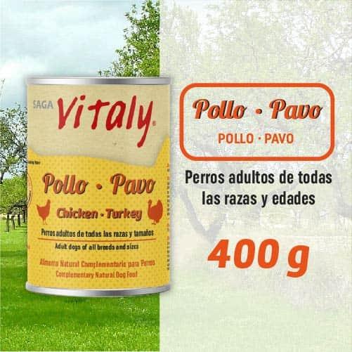 Lata de comida húmeda para perros de pollo y pavo de Vitaly