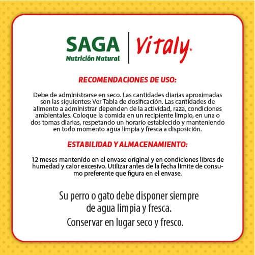 Condiciones de uso del pienso para perros y gatos de SAGA Vitaly
